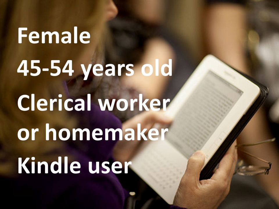 Female 45-54 years old Clerical worker or homemaker Kindle user