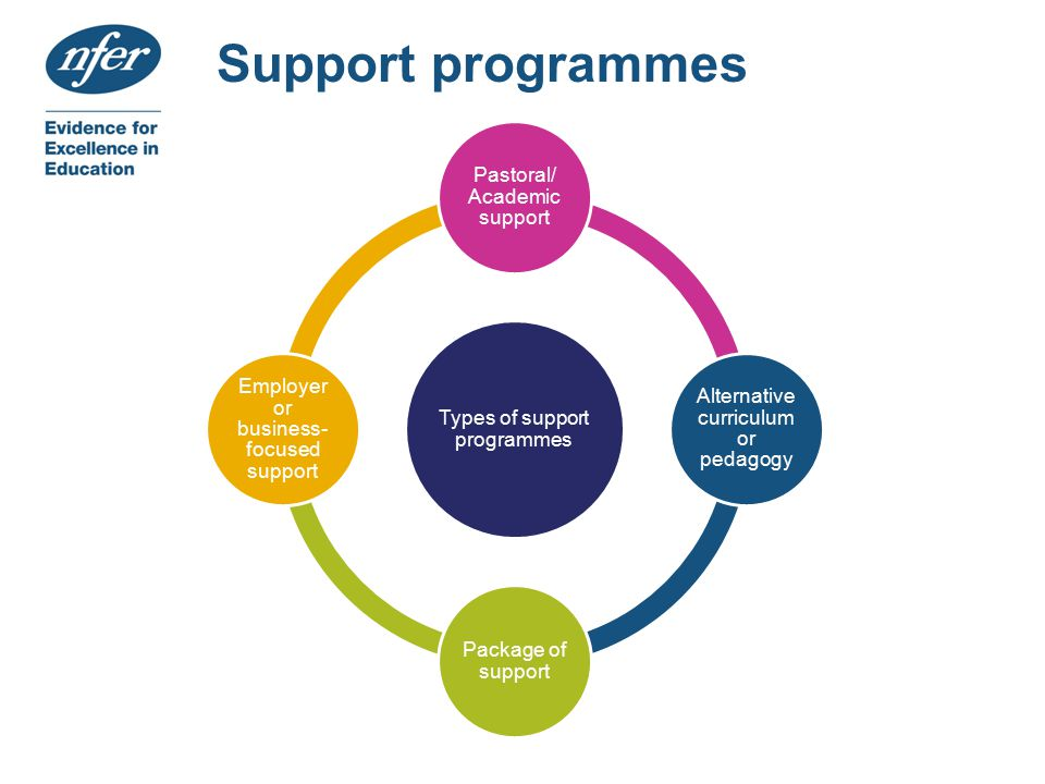 Support programmes Types of support programmes Pastoral/ Academic support Alternative curriculum or pedagogy Package of support Employer or business- focused support
