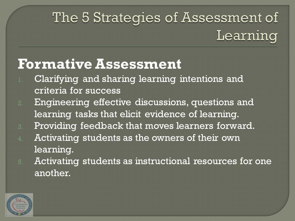 Formative Assessment 1. Clarifying and sharing learning intentions and criteria for success 2. Engineering effective discussions, questions and learni