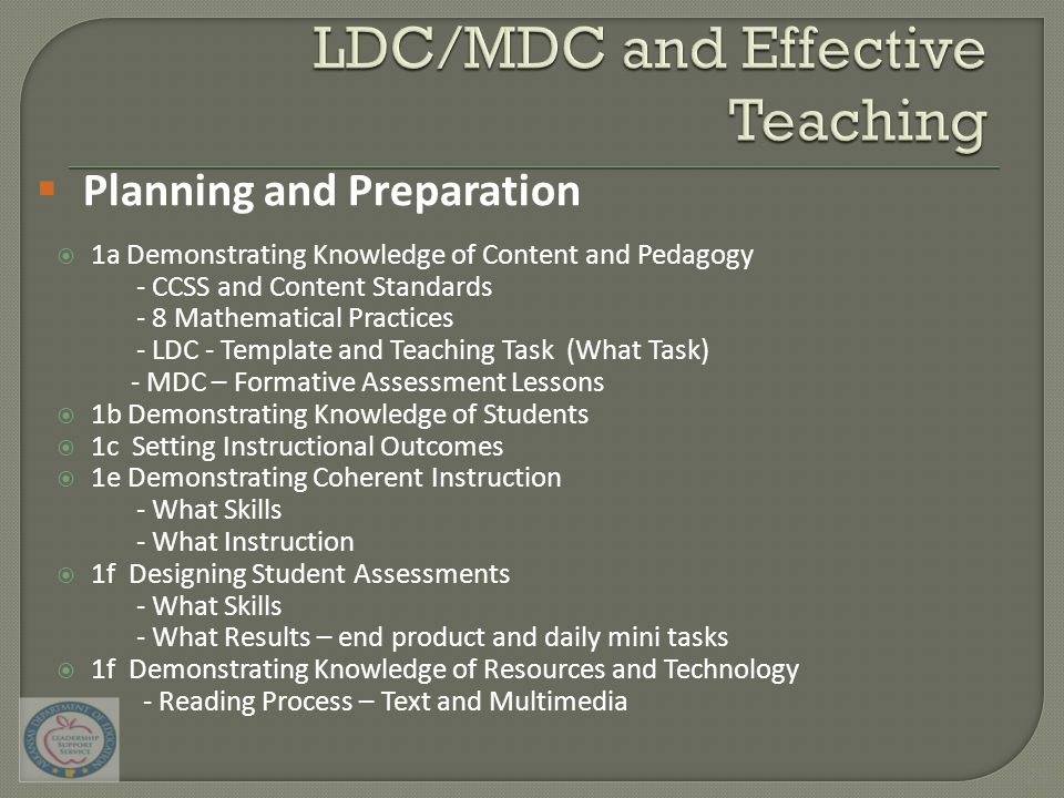  1a Demonstrating Knowledge of Content and Pedagogy - CCSS and Content Standards - 8 Mathematical Practices - LDC - Template and Teaching Task (What