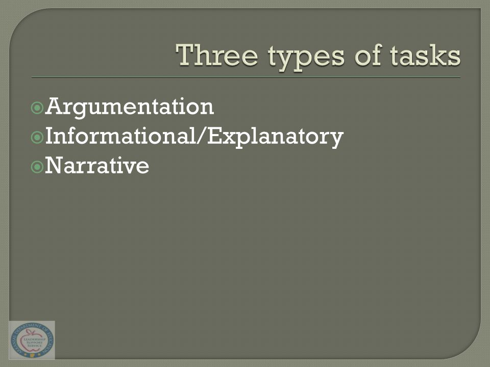 Argumentation  Informational/Explanatory  Narrative