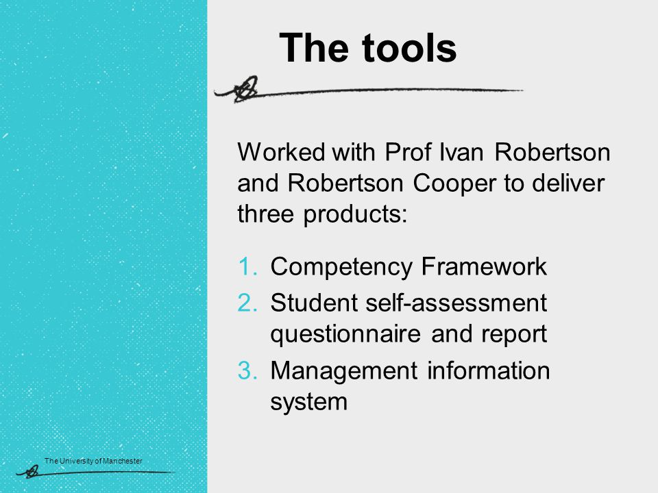 The University of Manchester Worked with Prof Ivan Robertson and Robertson Cooper to deliver three products: 1.Competency Framework 2.Student self-assessment questionnaire and report 3.Management information system The tools