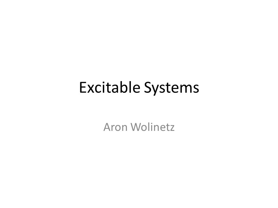 Excitable Systems Aron Wolinetz
