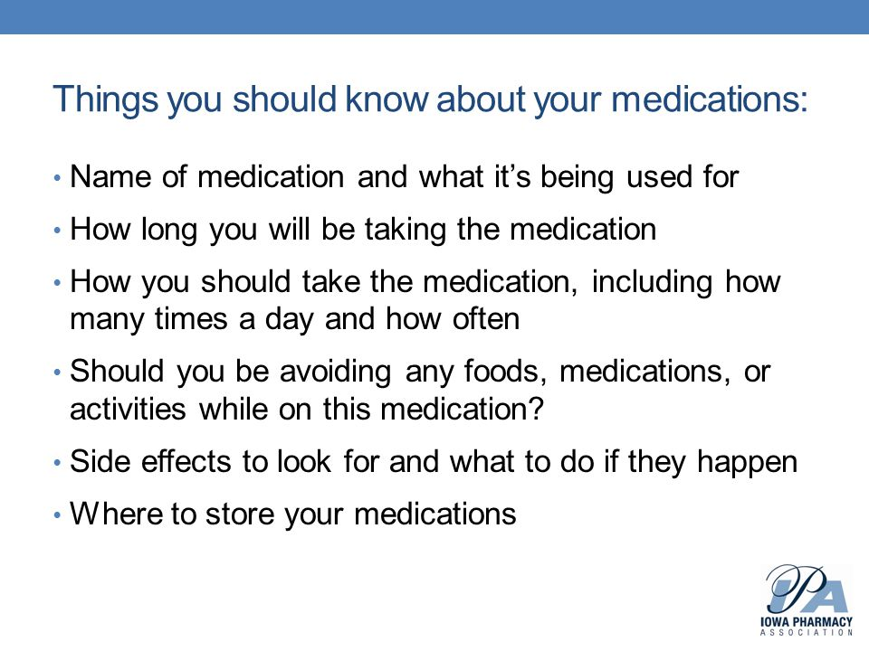 Things you should know about your medications: Name of medication and what it's being used for How long you will be taking the medication How you shou