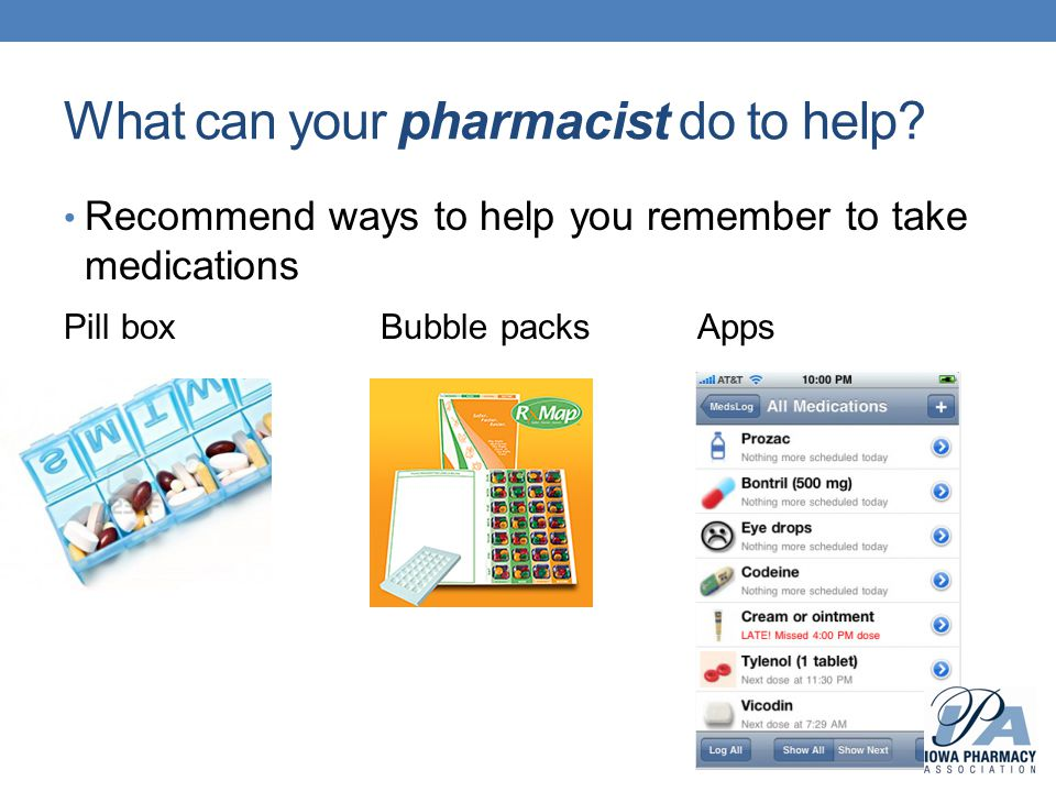 What can your pharmacist do to help? Recommend ways to help you remember to take medications Pill boxBubble packsApps