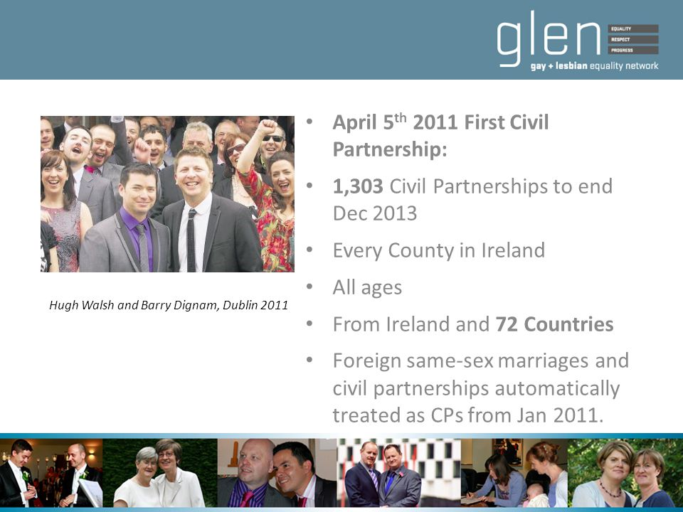 April 5 th 2011 First Civil Partnership: 1,303 Civil Partnerships to end Dec 2013 Every County in Ireland All ages From Ireland and 72 Countries Forei