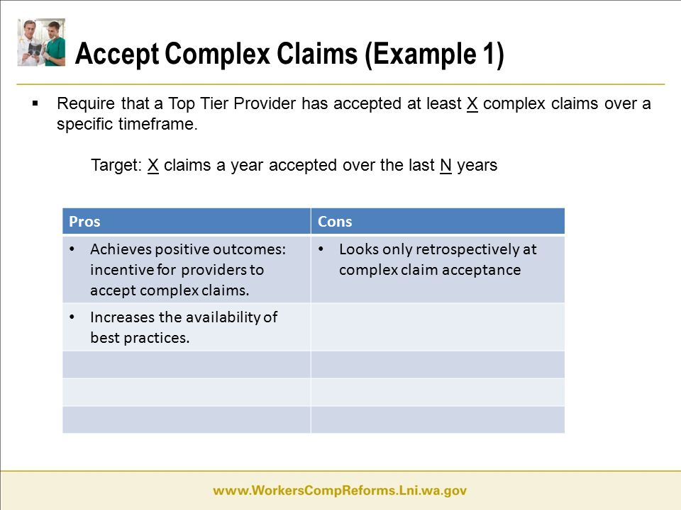 Accept Complex Claims (Example 1)  Require that a Top Tier Provider has accepted at least X complex claims over a specific timeframe.