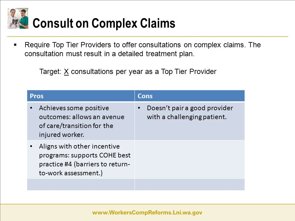 Consult on Complex Claims  Require Top Tier Providers to offer consultations on complex claims.