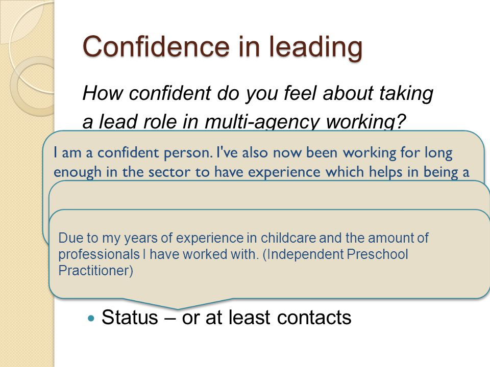 Confidence in leading How confident do you feel about taking a lead role in multi-agency working? 15 practitioners rated their confidence same or high