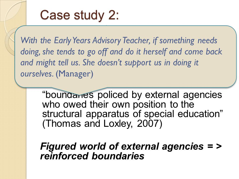 Case study 2: Brokerage from outside Garden Private Day Nursery dependent on filtering and advisory role of Early Years Advisory Teacher to access sup