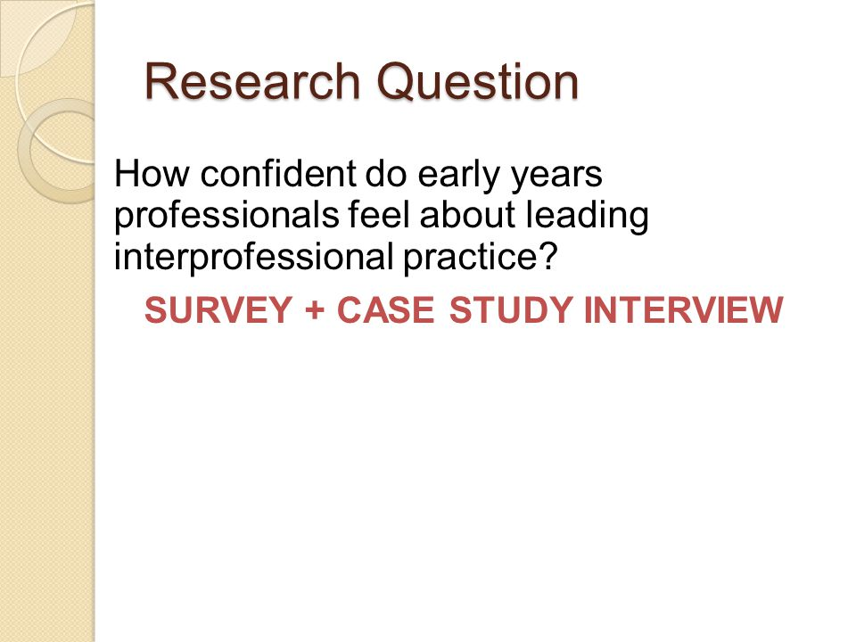 Research Question How confident do early years professionals feel about leading interprofessional practice? SURVEY + CASE STUDY INTERVIEW