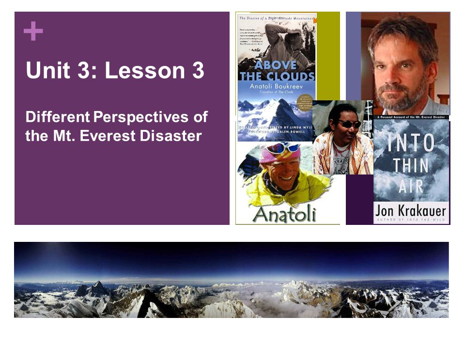 + Unit 3: Lesson 3 Different Perspectives of the Mt. Everest Disaster