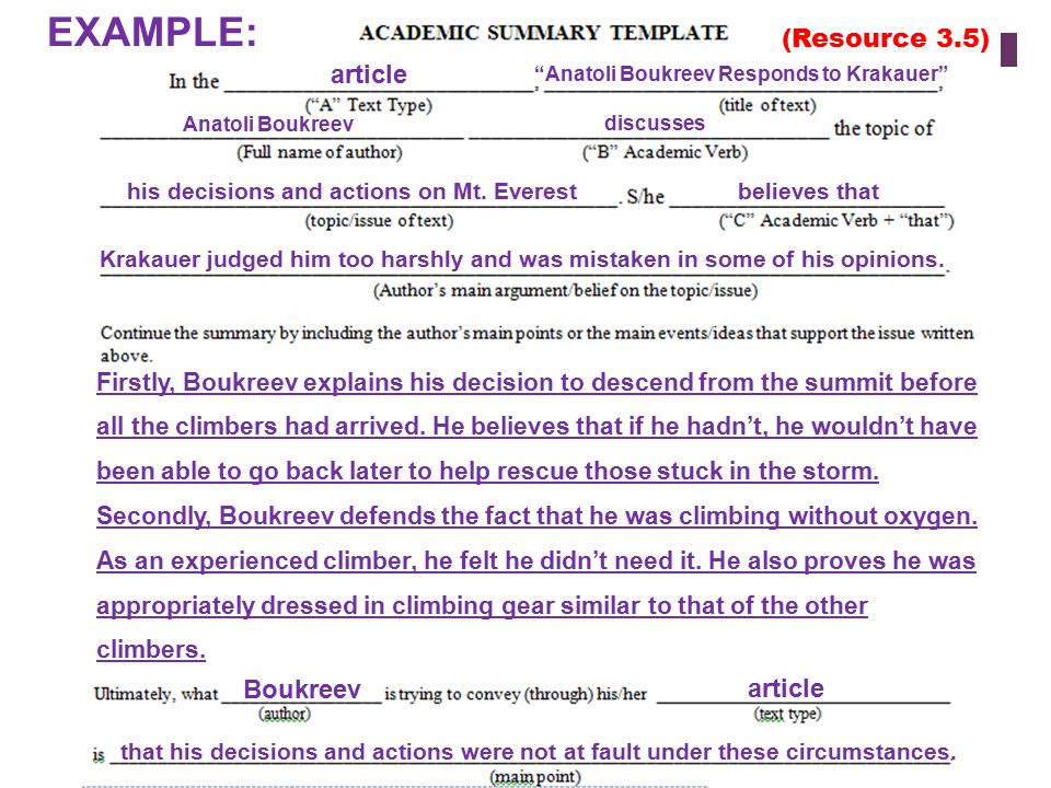 """EXAMPLE: article """"Anatoli Boukreev Responds to Krakauer"""" Anatoli Boukreev discusses his decisions and actions on Mt. Everest believes that Krakauer ju"""