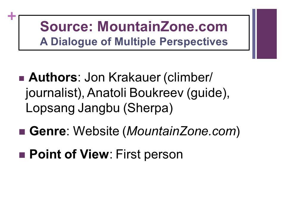 + Source: MountainZone.com A Dialogue of Multiple Perspectives Authors: Jon Krakauer (climber/ journalist), Anatoli Boukreev (guide), Lopsang Jangbu (