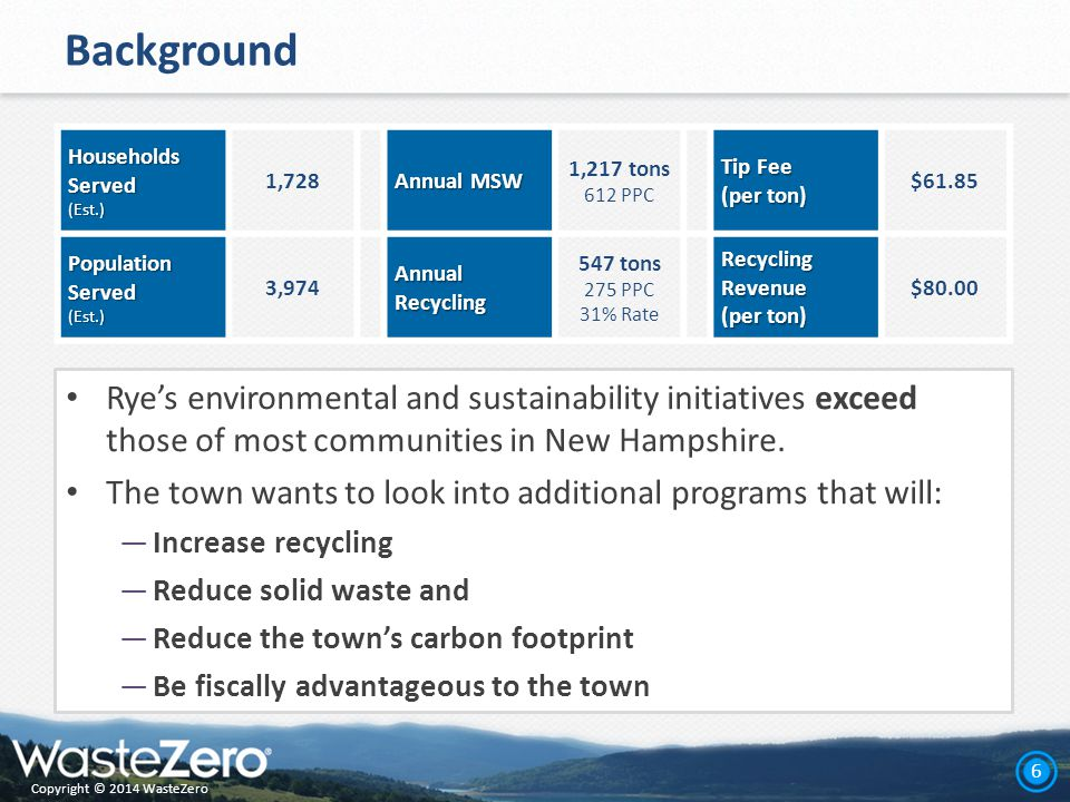 Copyright © 2014 WasteZero 6 Background Rye's environmental and sustainability initiatives exceed those of most communities in New Hampshire.
