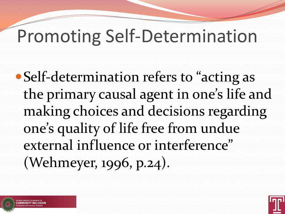 Promoting Self-Determination Self-determination refers to acting as the primary causal agent in one's life and making choices and decisions regarding one's quality of life free from undue external influence or interference (Wehmeyer, 1996, p.24).
