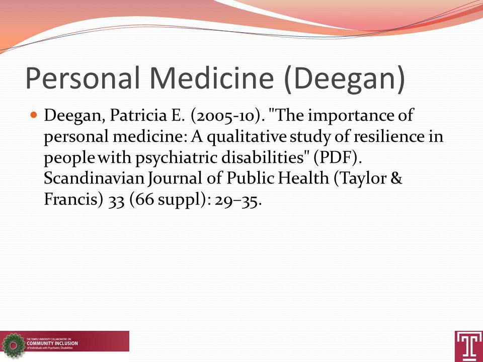 Personal Medicine (Deegan) Deegan, Patricia E. (2005-10).