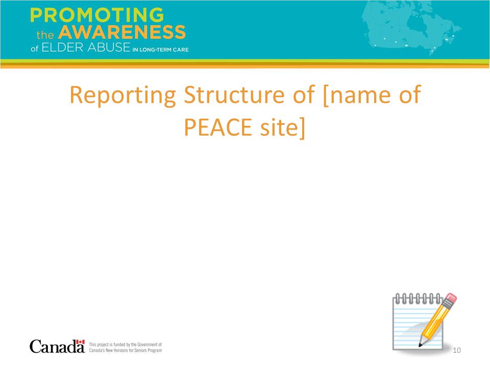 Reporting Structure of [name of PEACE site] 10