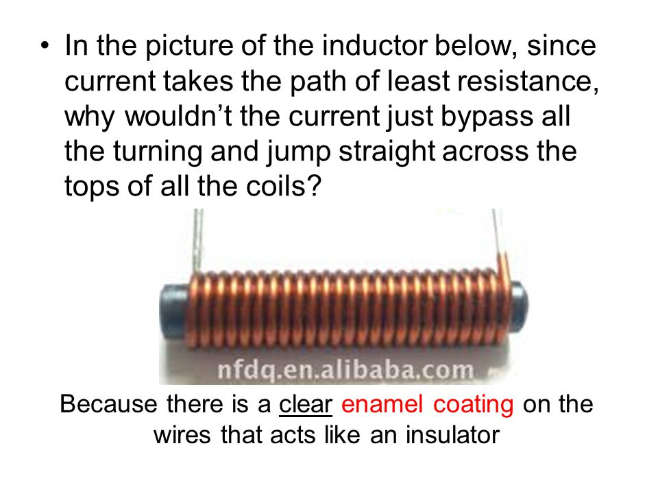 In the picture of the inductor below, since current takes the path of least resistance, why wouldn't the current just bypass all the turning and jump straight across the tops of all the coils.