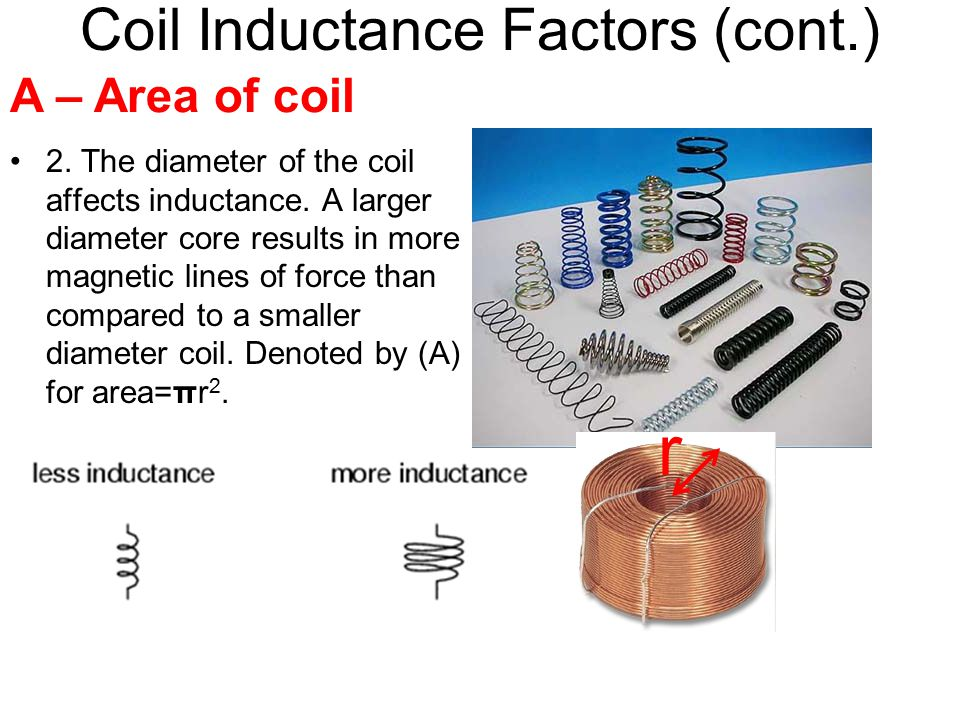 Coil Inductance Factors (cont.) 2.The diameter of the coil affects inductance.
