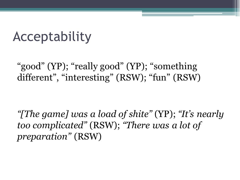 """Acceptability """"good"""" (YP); """"really good"""" (YP); """"something different"""", """"interesting"""" (RSW); """"fun"""" (RSW) """"[The game] was a load of shite"""" (YP); """"It's ne"""
