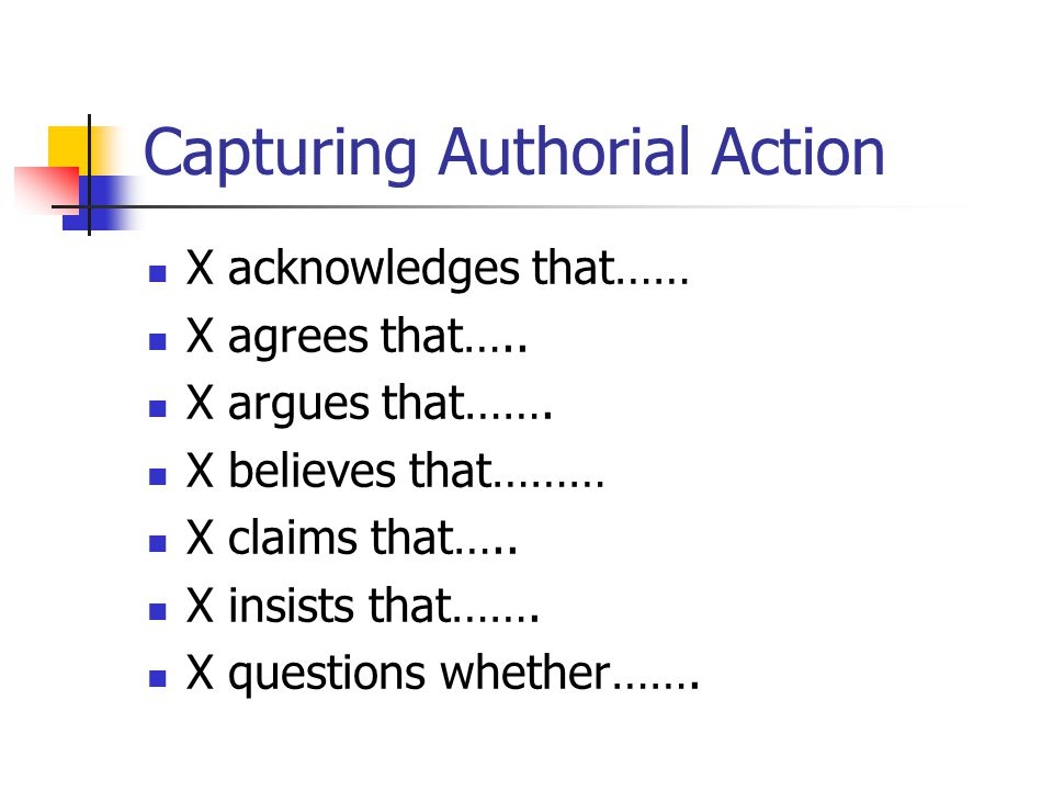 Capturing Authorial Action X acknowledges that…… X agrees that….. X argues that……. X believes that……… X claims that….. X insists that……. X questions w