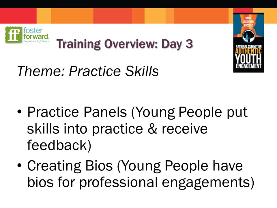 Training Overview: Day 3 Theme: Practice Skills Practice Panels (Young People put skills into practice & receive feedback) Creating Bios (Young People have bios for professional engagements)