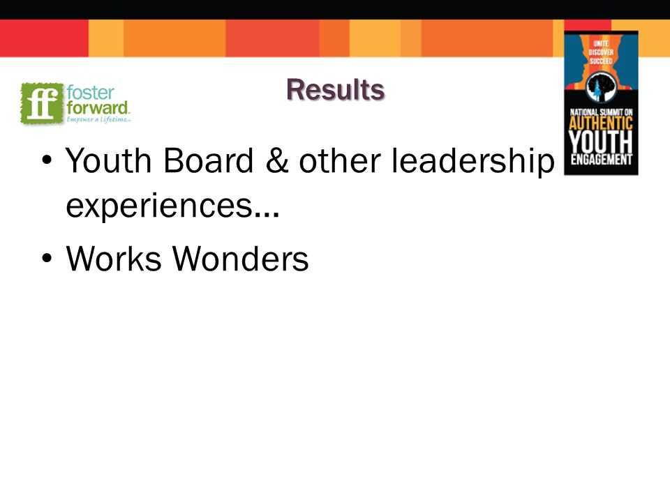 Results Youth Board & other leadership experiences… Works Wonders