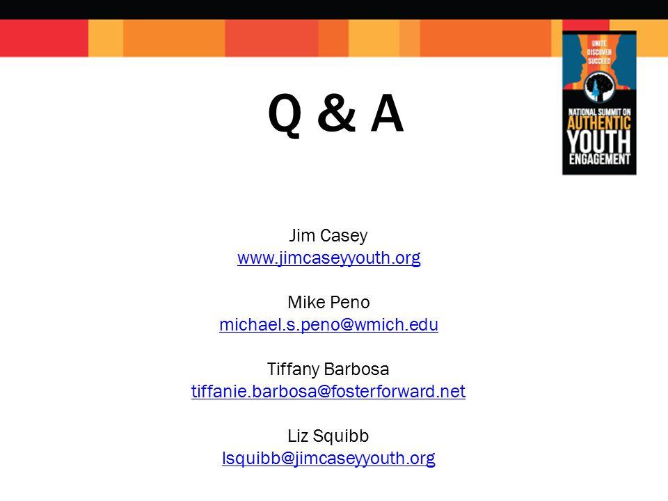 Q & A Jim Casey www.jimcaseyyouth.org Mike Peno michael.s.peno@wmich.edu Tiffany Barbosa tiffanie.barbosa@fosterforward.net Liz Squibb lsquibb@jimcaseyyouth.org www.jimcaseyyouth.org michael.s.peno@wmich.edu tiffanie.barbosa@fosterforward.net lsquibb@jimcaseyyouth.org