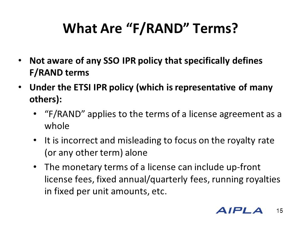 What Are F/RAND Terms.