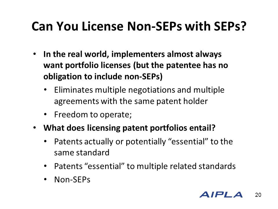 Can You License Non-SEPs with SEPs.