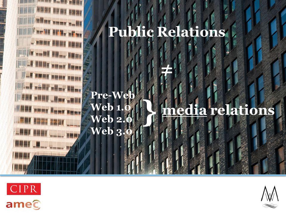 Public Relations ≠ 17 media relations Pre-Web Web 1.0 Web 2.0 Web 3.0 }