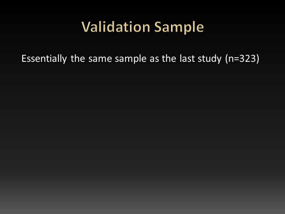 Essentially the same sample as the last study (n=323)