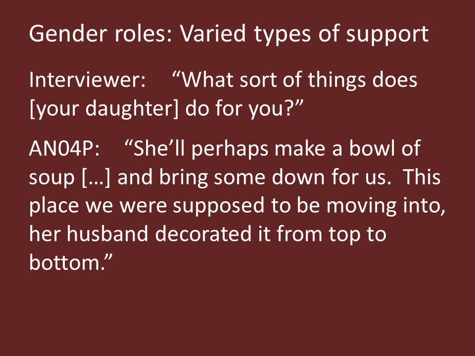 Gender roles: Varied types of support Interviewer: What sort of things does [your daughter] do for you AN04P: She'll perhaps make a bowl of soup […] and bring some down for us.