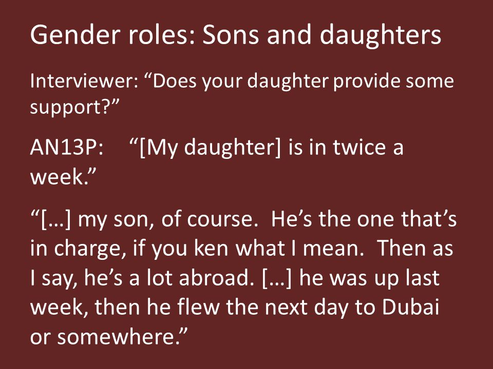 Gender roles: Sons and daughters Interviewer: Does your daughter provide some support AN13P: [My daughter] is in twice a week. […] my son, of course.