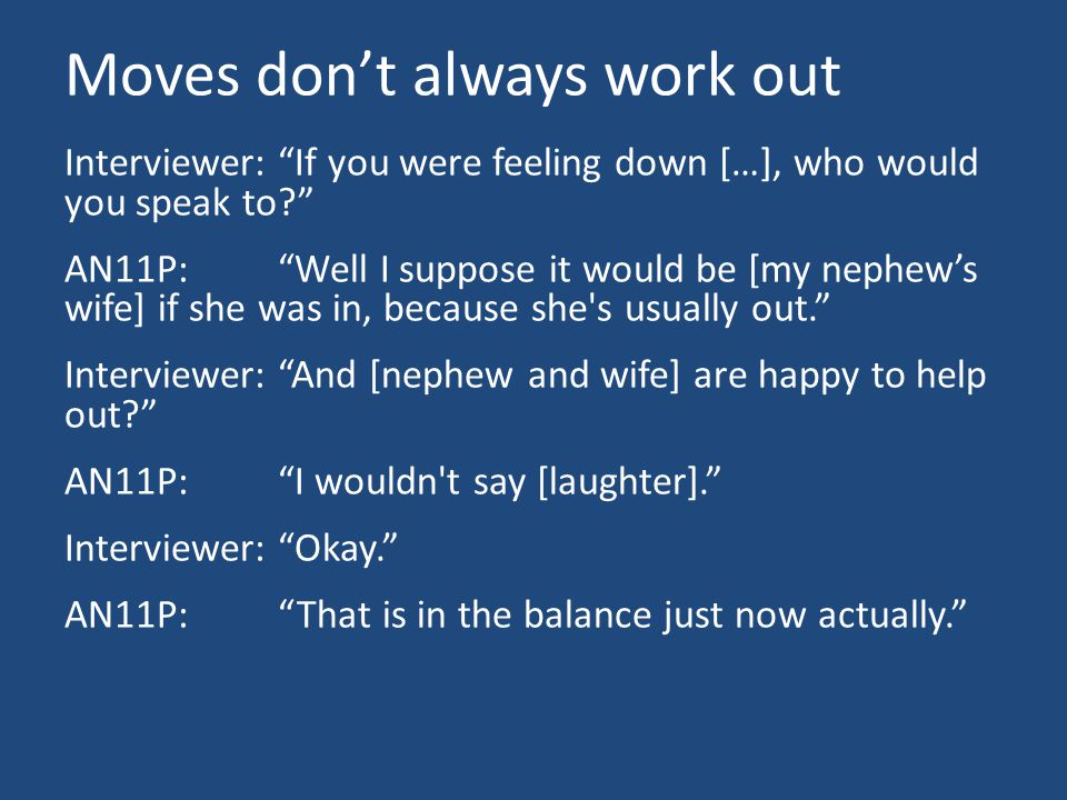 Moves don't always work out Interviewer: If you were feeling down […], who would you speak to AN11P: Well I suppose it would be [my nephew's wife] if she was in, because she s usually out. Interviewer: And [nephew and wife] are happy to help out AN11P: I wouldn t say [laughter]. Interviewer: Okay. AN11P: That is in the balance just now actually.
