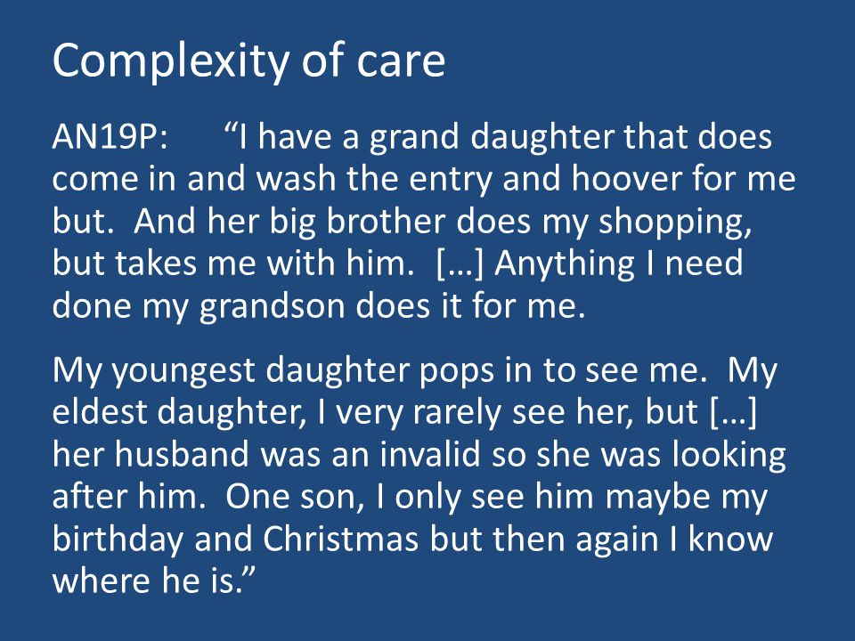 Complexity of care AN19P: I have a grand daughter that does come in and wash the entry and hoover for me but.