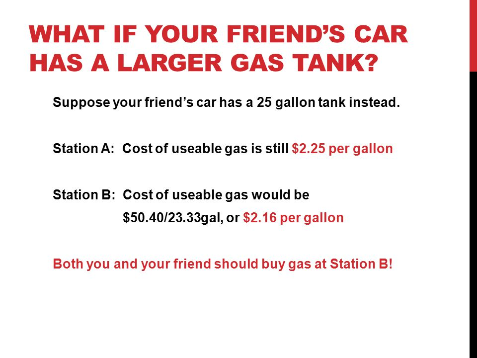 WHAT IF YOUR FRIEND'S CAR HAS A LARGER GAS TANK? Suppose your friend's car has a 25 gallon tank instead. Station A: Cost of useable gas is still $2.25