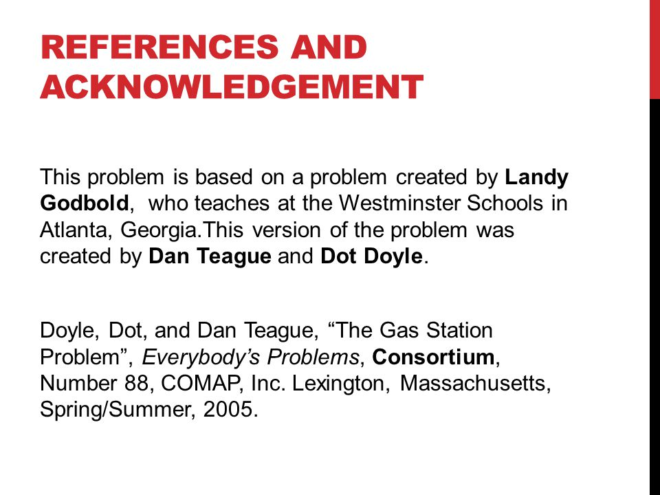 REFERENCES AND ACKNOWLEDGEMENT This problem is based on a problem created by Landy Godbold, who teaches at the Westminster Schools in Atlanta, Georgia.This version of the problem was created by Dan Teague and Dot Doyle.