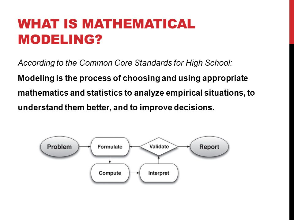 WHAT IS MATHEMATICAL MODELING? According to the Common Core Standards for High School: Modeling is the process of choosing and using appropriate mathe