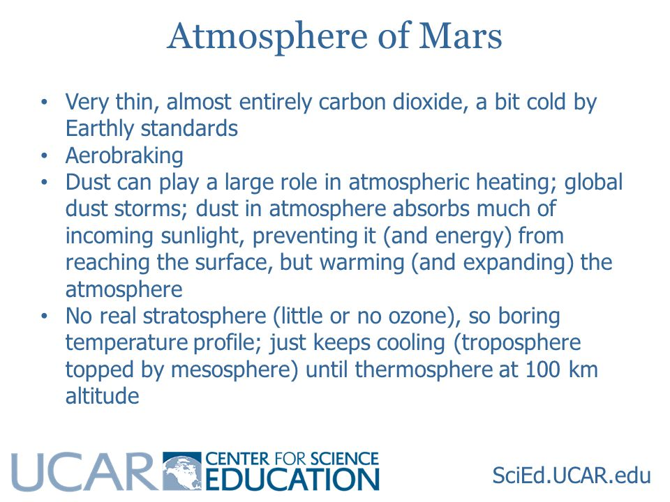Atmosphere of Mars Very thin, almost entirely carbon dioxide, a bit cold by Earthly standards Aerobraking Dust can play a large role in atmospheric heating; global dust storms; dust in atmosphere absorbs much of incoming sunlight, preventing it (and energy) from reaching the surface, but warming (and expanding) the atmosphere No real stratosphere (little or no ozone), so boring temperature profile; just keeps cooling (troposphere topped by mesosphere) until thermosphere at 100 km altitude