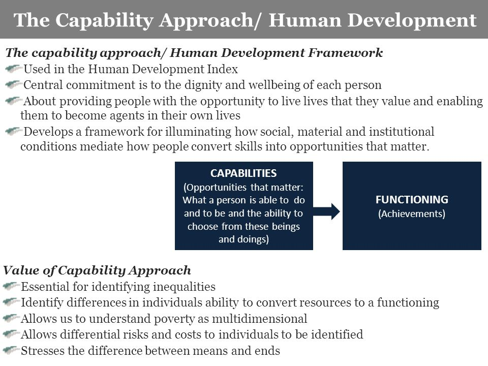 Key characteristics of the study The Capability Approach/ Human Development CAPABILITIES (Opportunities that matter: What a person is able to do and t