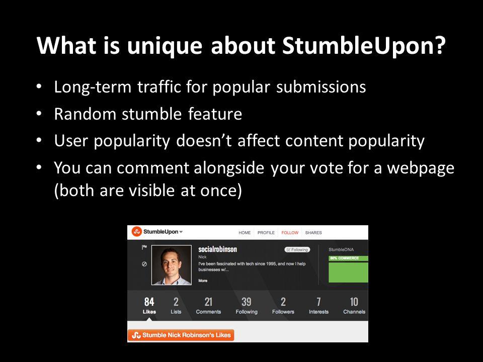 What is unique about StumbleUpon.