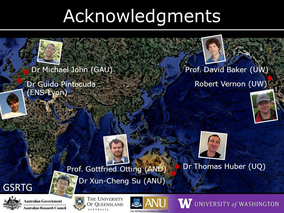 Acknowledgments GSRTG Dr Thomas Huber (UQ) Prof. David Baker (UW) Robert Vernon (UW)Dr Guido Pintacuda (ENS-Lyon) Dr Xun-Cheng Su (ANU) Dr Michael Joh