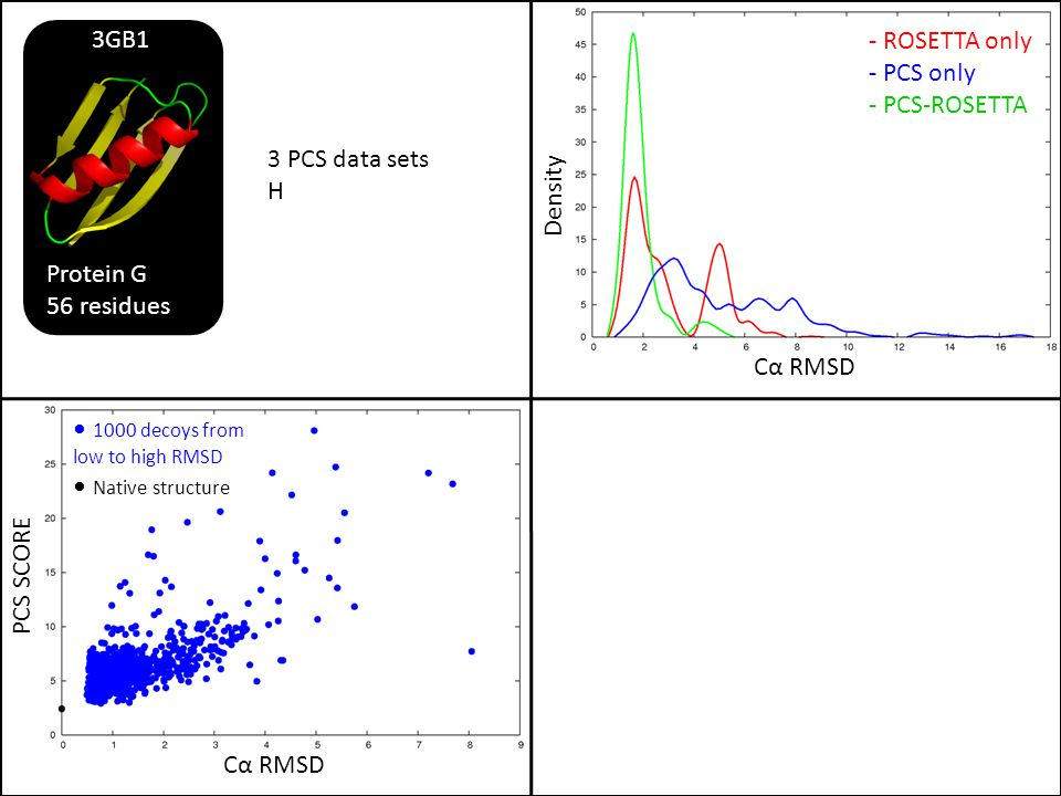 PCS SCORE Cα RMSD Density - ROSETTA only - PCS only - PCS-ROSETTA 3 PCS data sets H Protein G 56 residues 3GB1 1000 decoys from low to high RMSD Nativ