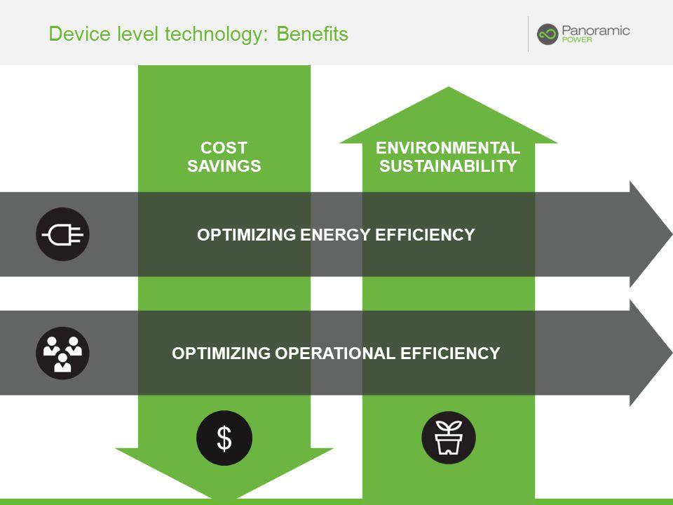 COST SAVINGS ENVIRONMENTAL SUSTAINABILITY Device level technology: Benefits OPTIMIZING ENERGY EFFICIENCY OPTIMIZING OPERATIONAL EFFICIENCY $