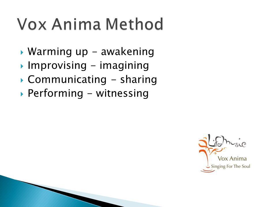  Warming up - awakening  Improvising - imagining  Communicating - sharing  Performing - witnessing