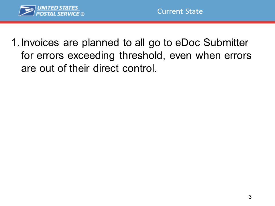 Current State 1.Invoices are planned to all go to eDoc Submitter for errors exceeding threshold, even when errors are out of their direct control.