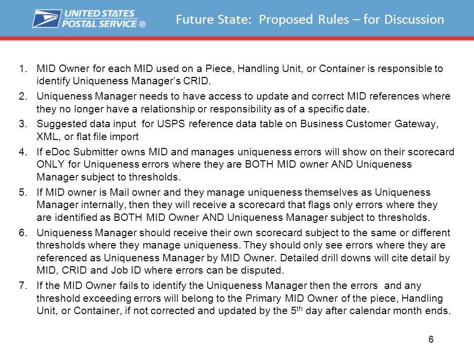 Future State: Proposed Rules – for Discussion 1.MID Owner for each MID used on a Piece, Handling Unit, or Container is responsible to identify Uniqueness Manager's CRID.