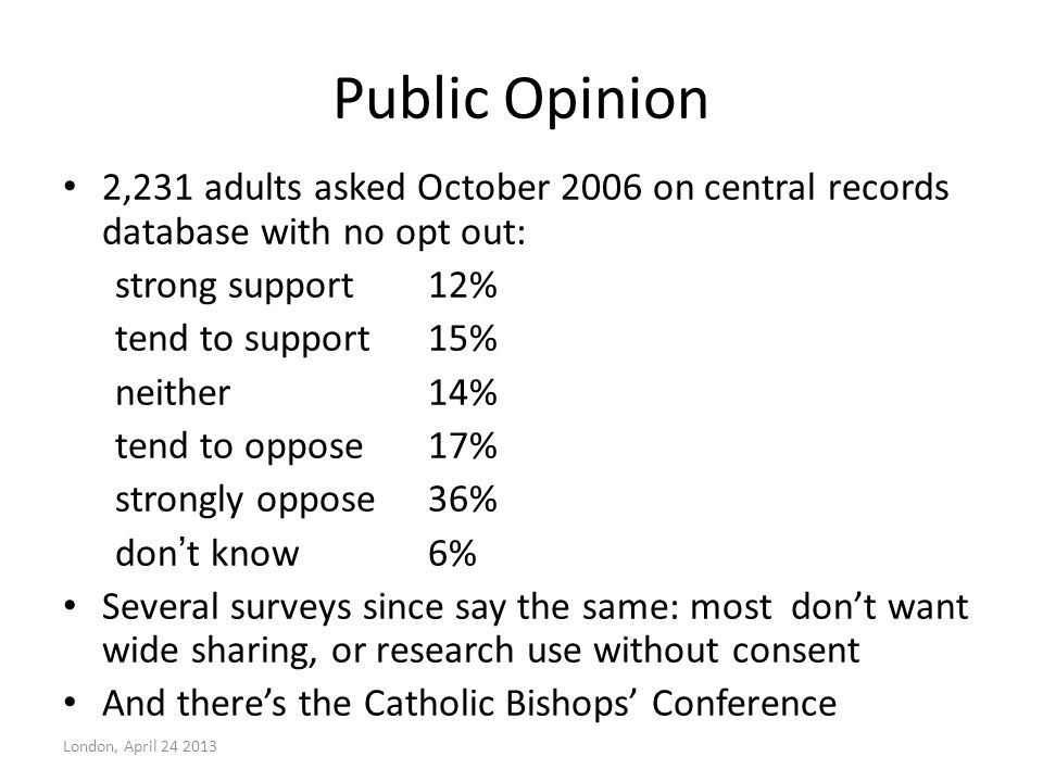 Public Opinion 2,231 adults asked October 2006 on central records database with no opt out: strong support12% tend to support15% neither14% tend to op